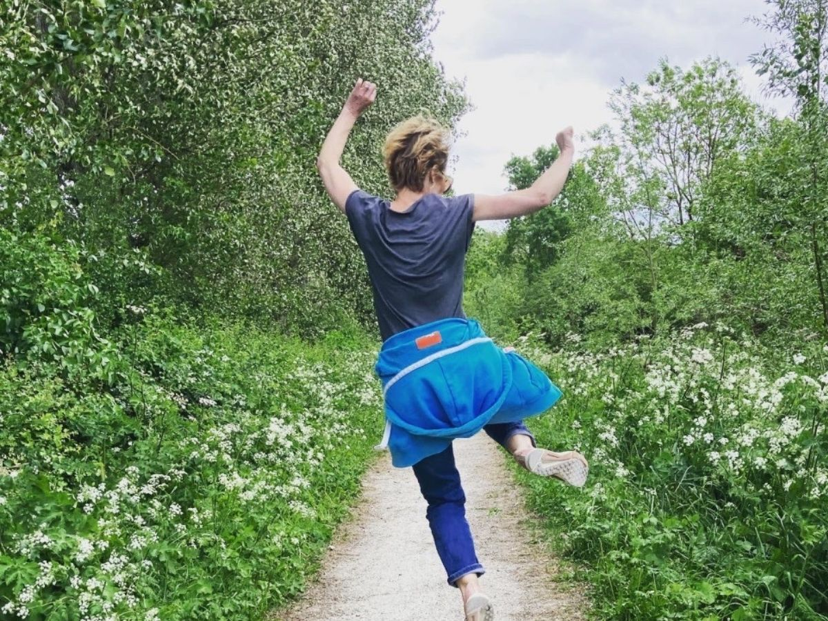 Picture of a lady leaping with joy
